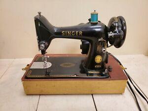 VINTAGE SINGER Sewing Machine 99K RFJ5-8 Portable Black w/Case USA WORKS!!
