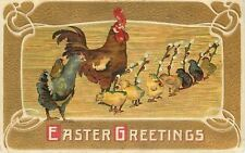 Easter~Chicks Bow to Rooster~Lil Chick on Hen Back~Pussy Willow Wands~Art Nouvea