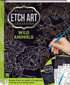 Kaleidoscope Etch Art Wild Animals Scratch Art 16 Etch Panels Free Fast P&P
