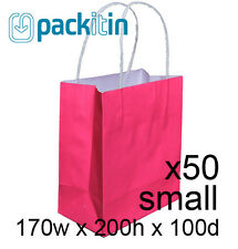 x50 HOT PINK paper gift CARRY tote party BAGS with handles - SMALL (170 x 200mm)