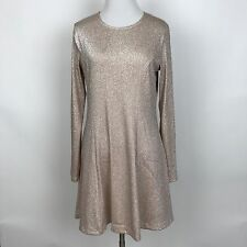Forever 21 Metallic Pink Long Sleeve Mini Dress Large L Blush Nude Skater 90s
