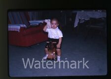 1963 Kodachrome Photo slide Kid on SPUNKY TOY KIDS ROLLING RIDE ON HORSE