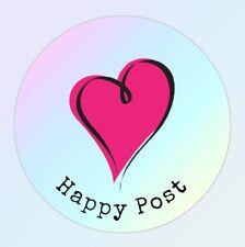 Happy post stickers round 40mm 24 per sheet self adhesive cute Heart Matt