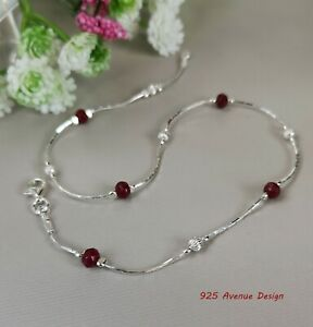 Ruby ANKLET 925 Sterling Silver chain & currugated beads  Ankle Bracelet dainty