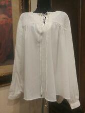 Claudia Richards women 2x cream white peasant sheer top blouse long sleeves