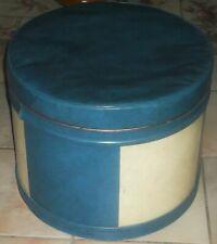 Mid Century Vintage Home Beautiful Round Blue Hassock Ottoman Storage Foot Stool
