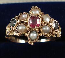 Antique 12ct Gold Gem Set Pearl Cluster Ring.