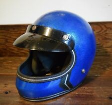 VINTAGE 1970's LSI BLUE METAL FLAKE MOTORCYCLE HELMET DIRT BIKE SPARKLE RETRO