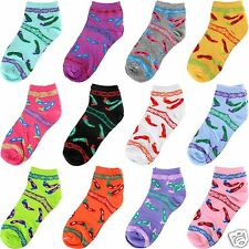New 1 Dozen 12 Pairs Womens Red Green Chili Pepper Ankle Socks Cotton Size 9-11