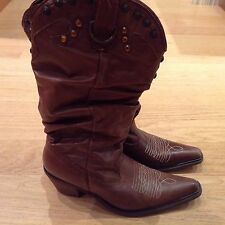 STEVE MADDEN WOMENS SHYANN BROWN LEATHER COWBOY BOOTS SIZE 10M