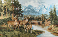 WALL JACQ. WOVEN TAPESTRY Mountain Landscape with Deer WILD LIFE ANIMAL PICTURE