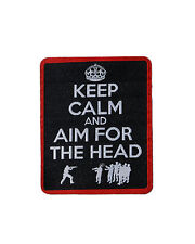 DARKSIDE Keep Calm and Aim For The Head iron on patch, horror/blood/zombie/funny