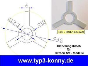 10x Sicherungsblech für Citroen SM Modelle in ELO Verzinkt