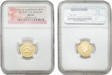 Australia 2012 Year of Dragon 15 Dollars 1/10 oz Gold NGC MS-69