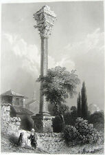 Istanbul, FATIH ROMAN COLUMN OF MARCIAN ROME EMPEROR ~ 1839 Art Print Engraving