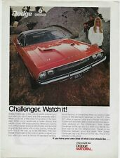 1969 Dodge Challenger R/T Watch it! Red You Could Be Dodge Material Vintage Ad