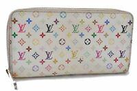 Authentic Louis Vuitton Monogram Multicolor Zippy Wallet Purse White LV B2951