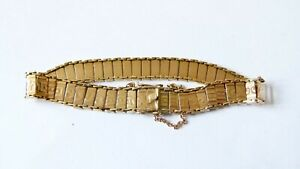 Vintage 9ct Yellow Gold Articulated Patterned Bracelet - 11.7g