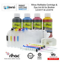 Rihac LC-3317XL LC-3319XL Refillable Ink Cartridge Kit for Brother MFC-J5330DW