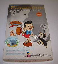 Disney Pinocchio Printer Set Colorforms Play Set Unused 1962 Dry Ink
