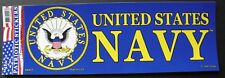 US Navy USN Bumper Sticker made in the USA 9.75 x 3.5 inches