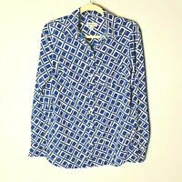 Merona Women's Blouse Size Small Top Shirt Blue White Long Sleeves Casual Work