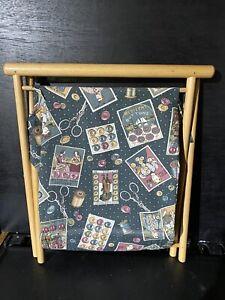 Vintage Folding Knitting Sewing Craft Bag Wooden Frame Haberdashery Cotton Bag