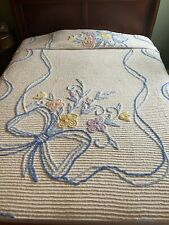 Vintage Chenille Bedspread w/ Floral Pattern-102� X 70�-Full/Twin-Nice Condition