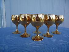 6 vintage  wine  glasses art deco retro 22kt gold