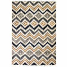 vidaXL Vloerkleed Modern Zigzag Ontwerp 160x230 cm Bruin/Zwart/Blauw Tapijt