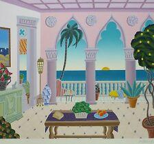 "THOMAS McKNIGHT Palm Beach II ""Villa Laguna"" HAND SIGNED Orig Serigraph 1991"