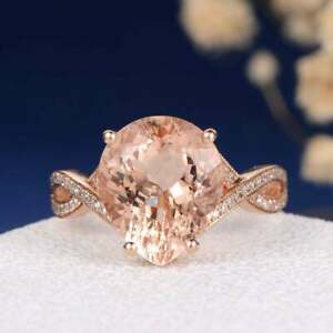 3.10 Ct Pear Cut Morganite Twisted Halo Women's Wedding Ring 18K Rose Gold Over