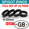 66.6 - 57.1 high- 20mm. SET OF 4 SPIGOT RINGS For Alloy Wheel Hub Centric spacer