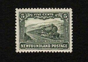 Newfoundland 1929 Sc#167 - Express Train Locomotive 5c Mint HR MHR XF