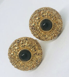 Large Vintage Signed SWANK Faux Gold Nugget Cufflinks Onyx Glass