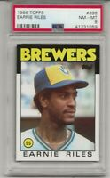 1986 TOPPS #398 EARNIE RILES, PSA 8 NM-MT, MILWAUKEE BREWERS, L@@K !
