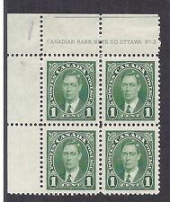 1937 Canada 231 Block KGVI Plate Block No. 3, Print Flaw / Error on Face - MH*