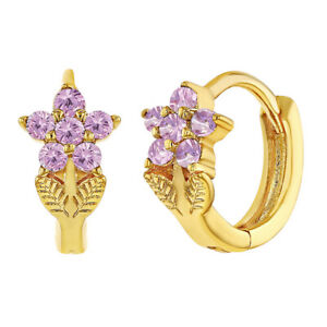 Gold Plated Pink Cubic Zirconia Flower Small Hoop Huggie Earrings for Girls 8mm