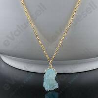 Handmade Raw Aquamarine Crystal Pendant Necklace, 14k Gold Filled Silver Jewelry
