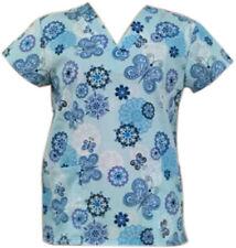 Women's Fashion Medical Nursing Scrub Tops Colorful Light Blue Base Butterfly  M