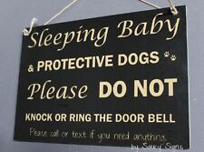 Black Do Not Knock Protective Responsive Dogs Warning Baby Sign No Soliciting