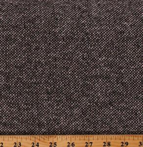 """Brown Speckled Tweed Wool 58"""" Wide Brown/Cream Wool Blend Fabric by Yard A611.09"""