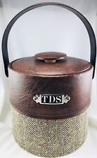 Georges Briard Ice Bucket Faux Leather Tweed Mid Century Modern Usa Vtg