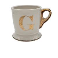 Anthropologie Monogram Mug G Initial Letter Coffee Cup Shaving Ivory White Gold