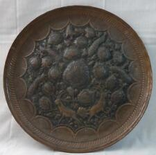 Antique Hammered Relief Copper Tray Detailed Floral, Birds, & Animals
