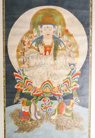 ⚜️ ANTICO DIPINTO KANNON BOSATSU BUDDISMO GIAPPONE 800 QUADRO BUDDHA BODHISATTVA