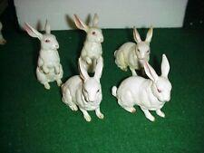5 Vintage Lefton Bunny Rabbit Porcelain Figurines Red Foil Label 8880