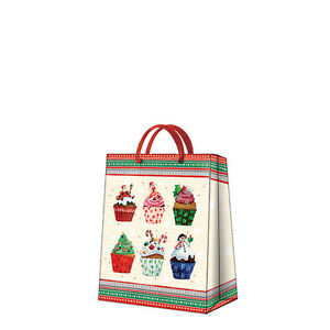Christmas Printed Paper Gift Present Bag CHRISTMAS CUPCAKES Snowman Medium / D