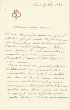 Frederic BARTHOLDI - Autograph letter signed - Liberty Statue in New York. 1882