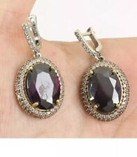 Antique Vintage Sterling Silver Topaz & Amethyst Drop/Dangle Earrings.